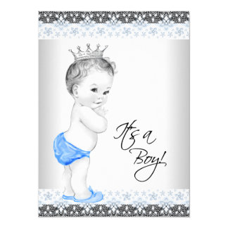 """Blue and Gray Vintage Baby Boy Shower 5.5"""" X 7.5"""" Invitation Card"""