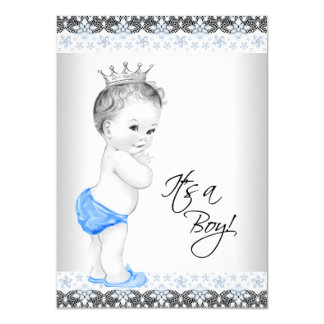 Blue and Gray Vintage Baby Boy Shower 4.5x6.25 Paper Invitation Card