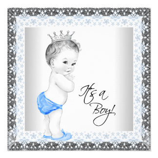 Blue and Gray Vintage Baby Shower Personalized Invite