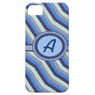 Blue and Gray Wavy Lines Monogram Iphone 5 Case