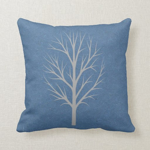 blue and gray winter tree throw pillow zazzle. Black Bedroom Furniture Sets. Home Design Ideas