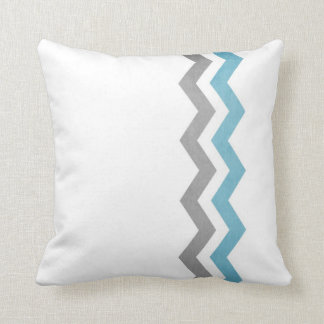Blue and Gray Zig Zag Pattern Throw Pillows