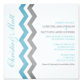 Blue and Gray Zig Zag Wedding Invitations