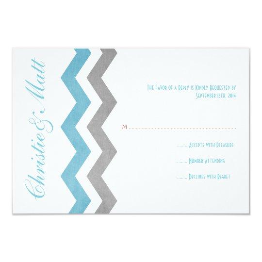 Blue and Gray Zig Zag Wedding RSVP Card