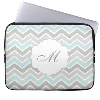 Blue and Gray Zigzag Chevron Monogram Computer Sleeve