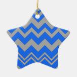 Blue and Gray ZigZag Chevron Ornaments