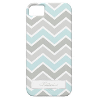 Blue and Gray Zigzag Chevron Pattern iPhone 5 Cases
