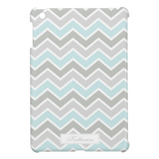 Blue and Gray Zigzag Chevron Pattern Cover For The iPad Mini