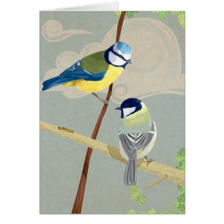 Blue and Great tit Card