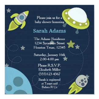 Blue and Green 5x5 Space Baby Shower Invitation