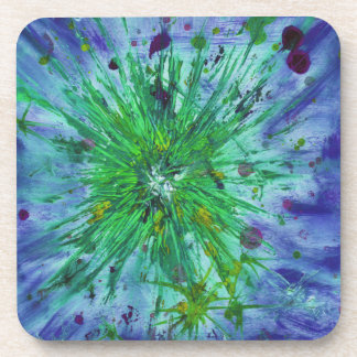 Blue and Green Abstract Art Star Acrylic Painting Coaster