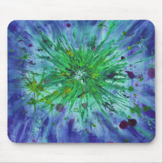 Blue and Green Abstract Art Star Acrylic Painting Mouse Pad