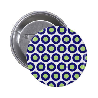 Blue and green abstract circle pattern pinback buttons