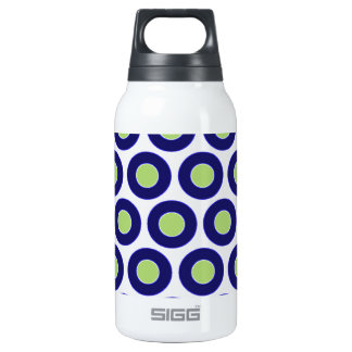 Blue and green abstract circle pattern insulated water bottle