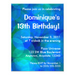 Blue and Green Abstract Circles Birthday Party Personalized Announcements