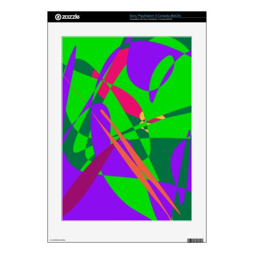Blue and Green Abstract Composition PS3 Console Decals