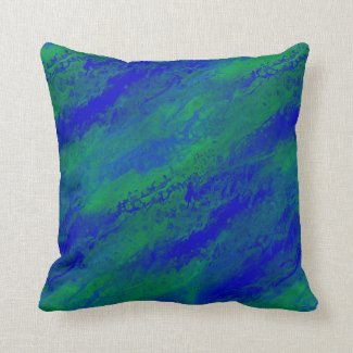 Blue and Green Abstract Forest on Throw Pillow