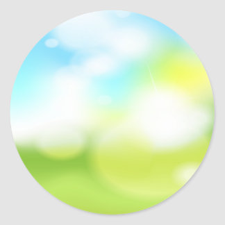 Blue and Green Abstract Classic Round Sticker