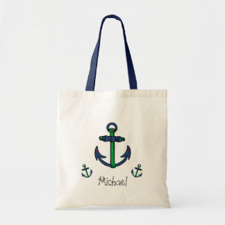 Blue and Green Anchors Canvas Bags
