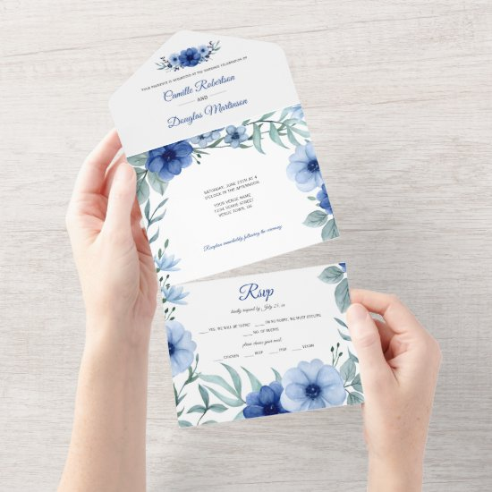 Blue and Green Anemone Floral    All In One Invitation
