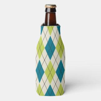 Blue And Green Argyle Bottle Cooler