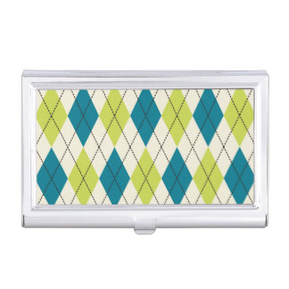 Blue And Green Argyle Case For Business Cards