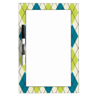Blue And Green Argyle Dry-Erase Board