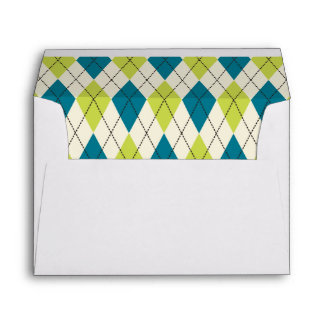 Blue And Green Argyle Envelope