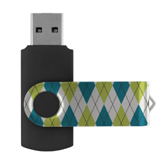 Blue And Green Argyle Flash Drive
