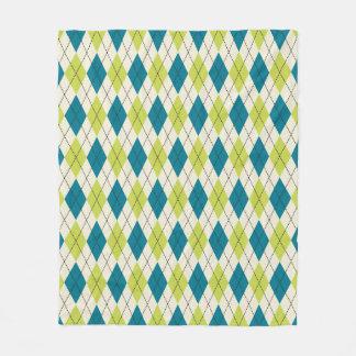 Blue And Green Argyle Fleece Blanket