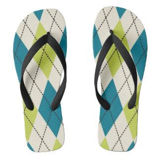 Blue And Green Argyle Flip Flops