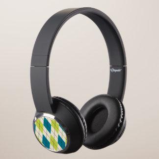 Blue And Green Argyle Headphones