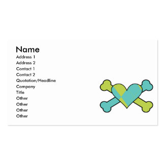 blue and green argyle heart colored crossbones des business card