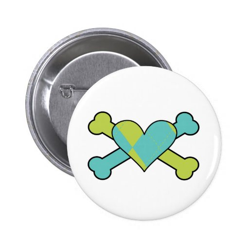 blue and green argyle heart colored crossbones des pinback buttons