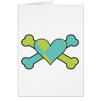 blue and green argyle heart colored crossbones des card