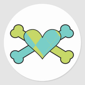 blue and green argyle heart colored crossbones des classic round sticker