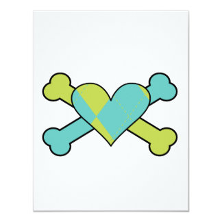 blue and green argyle heart colored crossbones des custom announcements