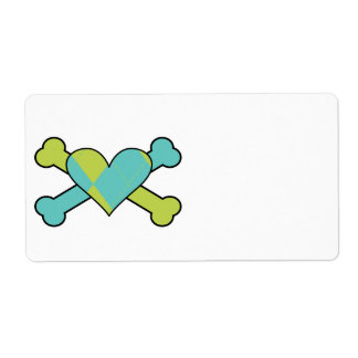 blue and green argyle heart colored crossbones des personalized shipping label