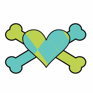 blue and green argyle heart colored crossbones des standing photo sculpture
