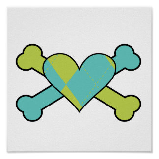 blue and green argyle heart colored crossbones des posters