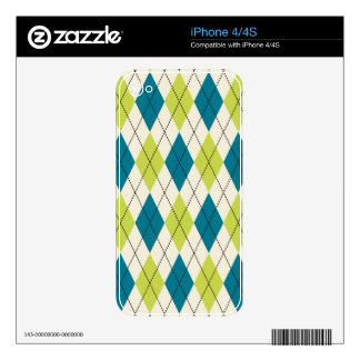 Blue And Green Argyle iPhone 4 Skins