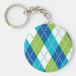 Blue and Green Argyle Basic Round Button Keychain