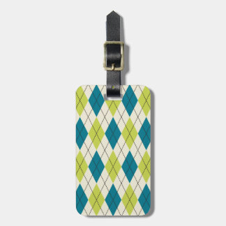 Blue And Green Argyle Travel Bag Tag