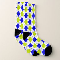 Blue and Green Argyle Pattern Socks