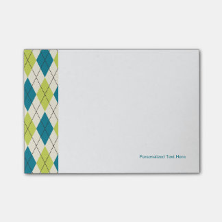 Blue And Green Argyle Post-it Notes