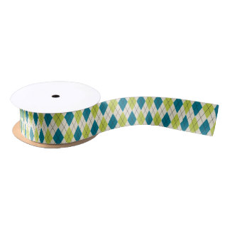 Blue And Green Argyle Satin Ribbon