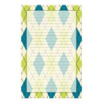 Blue And Green Argyle Stationery