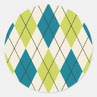 Blue And Green Argyle Classic Round Sticker