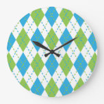 Blue and Green Argyle Wall Clock