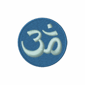 Blue and Green Aum Om Embroidered